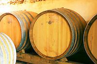 Detail of a wooden barrel.  Domaine Eric et Joel Joël Durand, Ardeche, Ardèche, France, Europe