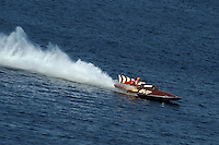 """Larry Fuller, U-77 """"Miss Wahoo"""" (Replica of the vintage 1956 hull built in 2009)...1-2 August, 2009 Seattle, Washington USA..©2009 F.Peirce Williams USA.."""