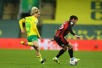 17th April 2021; Carrow Road, Norwich, Norfolk, England, English Football League Championship Football, Norwich versus Bournemouth; Adam Smith of Bournemouth takes on Todd Cantwell of Norwich City
