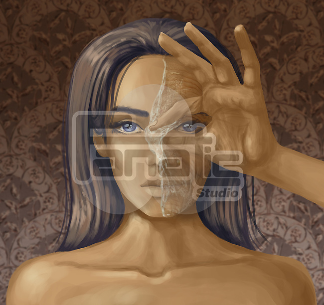 Portrait of a woman with hand peeling off the mask depicting concept of aging process