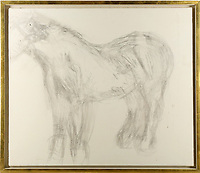 BNPS.co.uk (01202 558833)<br /> Pic: ChiswickAuctions/BNPS<br /> <br /> An abandoned drawing of a horse by Lucian Freud together with painting materials he also left behind have sold at auction for £80,000.<br />  <br /> The celebrated British artist gave up on his study of the horse called Goldie halfway through as he decided he didn't like her personality.<br /> <br /> He left the unfinished work at the Wormwood Scrubs Pony Centre in west London along with his easel, palette and paint brushes. <br /> <br /> At first Sister Mary-Joy Langdon, who runs the centre, had no idea who the artist was and had even offered him advice on painting horses.