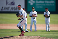 Modesto Nuts relief pitcher Wyatt Mills (41) warms up after being called from the bull pen during a California League game against the Lake Elsinore Storm at John Thurman Field on May 13, 2018 in Modesto, California. Lake Elsinore defeated Modesto 4-3. (Zachary Lucy/Four Seam Images)