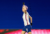 LE HAVRE, FRANCE - APRIL 13: Megan Rapinoe #15 of the USWNT celebrates during a game between France and USWNT at Stade Oceane on April 13, 2021 in Le Havre, France.