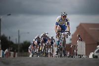 Team Topsport Vlaanderen-Baloise leading the chase over the cobbles<br /> <br /> 101st Kampioenschap van Vlaanderen 2016 (UCI 1.1)<br /> Koolskamp › Koolskamp (192.4km)