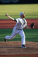 Charlotte 49ers relief pitcher Jonah Patten (36) in action against the Xavier Musketeers at Hayes Stadium on March 3, 2017 in Charlotte, North Carolina.  The 49ers defeated the Musketeers 2-1.  (Brian Westerholt/Four Seam Images)