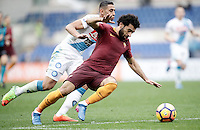 Roma's Mohamed Salah, right, is challenged by Napoli's Faouzi Ghoulam during the Italian Serie A football match between Roma and Napoli at Rome's Olympic stadium, 4 March 2017. <br /> UPDATE IMAGES PRESS/Isabella Bonotto