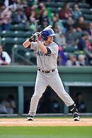 Infielder Brendan Rodgers (1) of the Asheville Tourists bats in a game against the Greenville Drive on Sunday, April 10, 2016, at Fluor Field at the West End in Greenville, South Carolina. Greenville won, 7-4. (Tom Priddy/Four Seam Images)