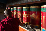 24 MAY 2015, McLeod Ganj, Himachal Pradesh, INDIA:  Monks turn prayer wheels at a Buddhist temple in McLeod Ganj - the Indian home of the exiled Tibetan leader the Dalai Lama.   Picture by Graham Crouch/The Australian Magazine