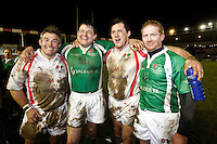 Photo: Richard Lane/Richard Lane Photography. England Legends v Ireland Legends. The Stuart Mangan Memorial Cup. 26/02/2010. (lt to rt) Jason Leonard, Reggie Corrigan, Rory Jenkins and Anthony Horgan.
