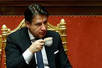 Italian Premier Giuseppe Conte drinking a coffee<br /> Rome February 18th 2020. Senate. Speech of the Italian Premier about the next European Council.<br /> Foto Samantha Zucchi Insidefoto