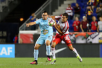 Harrison, NJ - Thursday Sept. 15, 2016: Rodolfo Zelaya, Aaron Long during a CONCACAF Champions League match between the New York Red Bulls and Alianza FC at Red Bull Arena.