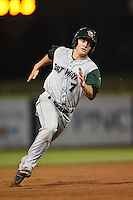 Fort Wayne TinCaps second baseman Josh VanMeter (7) running the bases during a game against the Lake County Captains on August 21, 2014 at Classic Park in Eastlake, Ohio.  Lake County defeated Fort Wayne 7-8.  (Mike Janes/Four Seam Images)