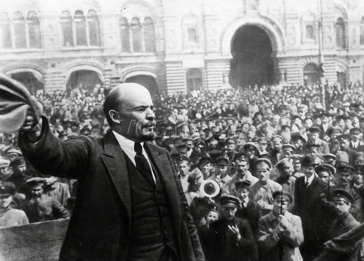 Vladimir Lenin, in Red Square, Moscow 1918.
