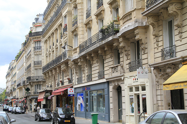 Stores along Rue Cler in Paris, France.