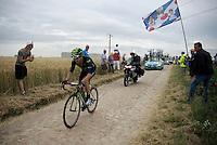 very tough day for Alex Dowsett (GBR/Movistar)<br /> <br /> stage 4: Seraing (BEL) - Cambrai (FR) <br /> 2015 Tour de France