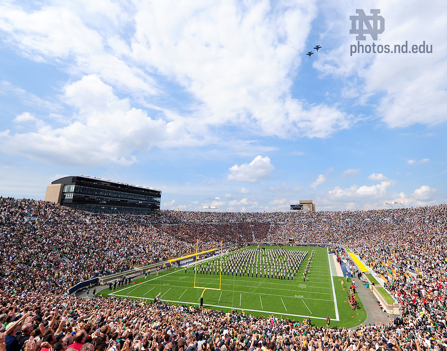 Two U.S. Navy F-18s do a flyover before the start of Notre Dame's home opener against San Diego State