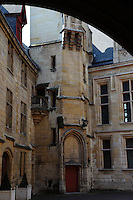 Paris Right Bank: A view of the main court of the Hotel de Sens, in the Marais.  The building was the residence of the archbishops of Sens in the town from the end of the XIV century, and it has been entirely rearranged by one of them, Tristan de Salazar, at the end of the XV century. It has been restored at the beginning of 1900.<br /> <br /> You can download this file for (E&PU) only, but you can find in the collection the same one available instead for (Adv).