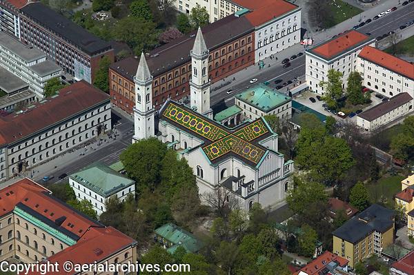 aerial photograph of the Ludwigskirche church, Munich, Bavaria, Germany | Luftbild Ludwigskirche, München