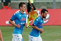Arkadiusz Milik Amin Younes  durante il Triangolare precampionato nel ritiro estivo  tra Napoli , L'Aquila e il Castel Di Sangro allo stadio Patini