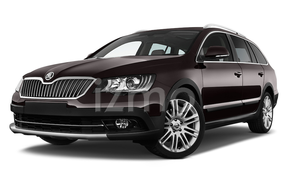 Stock pictures of low aggressive front three quarter view of a 2015 Skoda SUPERB Elegance 5 Door Wagon 2WD Low Aggressive