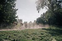 Team Roompot-Nederlandse Loterij with Taco van der Hoorn (NED/Roompot-Nederlandse Loterij) moving through the dust in prusuit of the race leaders<br /> <br /> 92nd Schaal Sels 2017 <br /> 1 Day Race: Merksem > Merksem (188km)