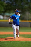 Toronto Blue Jays pitcher Jake Fishman (59) during an exhibition game against the Canada Junior National Team on March 8, 2020 at Baseball City in St. Petersburg, Florida.  (Mike Janes/Four Seam Images)