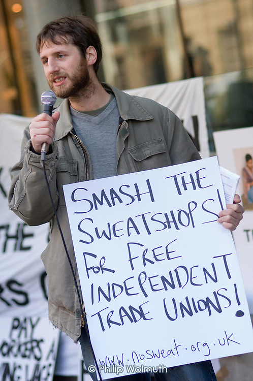 Stuart Jordan, of No Sweat, at a protest outside the Primark AGM being held at the TUC's Congress House, London.