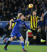 Watford's Kiko Femenia clears from Leicester City's Jamie Vardy <br /> <br /> Photographer Stephen White/CameraSport<br /> <br /> The Premier League - Leicester City v Watford - Saturday 1st December 2018 - King Power Stadium - Leicester<br /> <br /> World Copyright © 2018 CameraSport. All rights reserved. 43 Linden Ave. Countesthorpe. Leicester. England. LE8 5PG - Tel: +44 (0) 116 277 4147 - admin@camerasport.com - www.camerasport.com