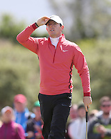 Thursday 28 May 2015; A bemused Rory McIlroy on the 18th<br /> <br /> Dubai Duty Free Irish Open Golf Championship 2015, Round 1 County Down Golf Club, Co. Down. Picture credit: John Dickson / SPORTSFILE