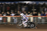 Heat 12: Jason Crump in action in front of a bumper crowd - Lee Richardson Memorial Speedway Meeting at Arena Essex Raceway, Purfleet - 28/09/12 - MANDATORY CREDIT: Gavin Ellis/TGSPHOTO - Self billing applies where appropriate - 0845 094 6026 - contact@tgsphoto.co.uk - NO UNPAID USE.