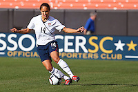 22 MAY 2010:  USA's Stephanie Cox #14 during the International Friendly soccer match between Germany WNT vs USA WNT at Cleveland Browns Stadium in Cleveland, Ohio on May 22, 2010.