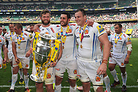 Geoff Parling, Dave Dennis and Mitch Lees of Exeter Chiefs celebrate with the trophy after winning the Premiership Rugby Final at Twickenham Stadium on Saturday 27th May 2017 (Photo by Rob Munro)