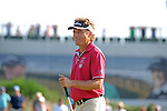 Current leader Bernhard Langer smiles at the crowd on the 13th tee during day one of The Senior Open Golf Tournament at The Royal Porthcawl Golf Club in South Wales this afternoon.