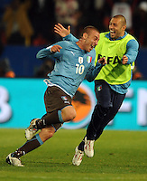 Daniele De Rossi of Italy celebrates scoring his side's second goal with team-mate Andrea Dossena. Italy defeated USA 3-1 during the FIFA Confederations Cup at Loftus Versfeld Stadium, in Tshwane/Pretoria South Africa on June 15, 2009.