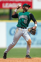 Augusta shortstop Sharlon Schoop (12) makes a throw from deep in the hole versus Kannapolis at Fieldcrest Cannon Stadium in Kannapolis, NC, Wednesday, May 2, 2007.