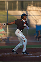 AZL Giants Black right fielder Kwan Adkins (8) follows through on his swing during an Arizona League game against the AZL Athletics at the San Francisco Giants Training Complex on June 19, 2018 in Scottsdale, Arizona. AZL Athletics defeated AZL Giants Black 8-3. (Zachary Lucy/Four Seam Images)