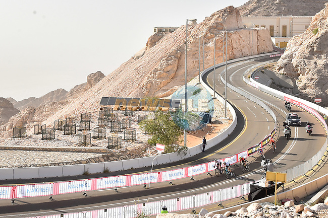 The lead group race leader Adam Yates (GBR) Mitchelton-Scott, Tadej Pogacar (SLO) UAE Team Emirates, Alexey Lutsenko (KAZ) Astana Pro Team, David Gaudu (FRA) Groupama-FDJ and Ilnur Zakarin (RUS) CCC Team race for the finish line atop Jebel Hafeet during Stage 5 the Al Ain Water Stage of the UAE Tour 2020 running 162km from Al Ain to Jebel Hafeet, Dubai. 27th February 2020.<br /> Picture: LaPresse/Massimo Paolone | Cyclefile<br /> <br /> All photos usage must carry mandatory copyright credit (© Cyclefile | LaPresse/Massimo Paolone)