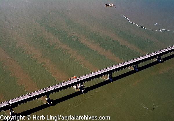aerial photograph of tidal sediment flow Richmond bridge Bridge