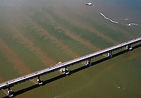 aerial photograph of tidal sediment flow Richmond bridge Bridge