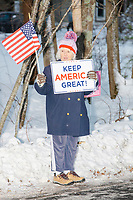 Donald Trump - Supporters demonstrate outside of Biden event - Hampton NH - 8 Dec 2019