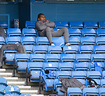 25.10.2020 Rangers v Livingston: Alfredo Morelos watches from the subs bench