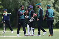 S Khan of Harold Wood celebrates with his team mates after taking the wicket of Paul Murray during Hornchurch CC vs Harold Wood CC, Hamro Foundation Essex League Cricket at Harrow Lodge Park on 5th June 2021