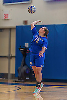 26 October 2014: Yeshiva University Maccabee Middle Blocker Marissa Almoslino, a Sophomore from Seattle, WA, in action against the Maritime College Privateers, at the College of Mount Saint Vincent, in Riverdale, NY. The Privateers defeated the Maccabees 3-0 in the NCAA Division III Women's Volleyball Skyline matchup. Mandatory Credit: Ed Wolfstein Photo *** RAW (NEF) Image File Available ***