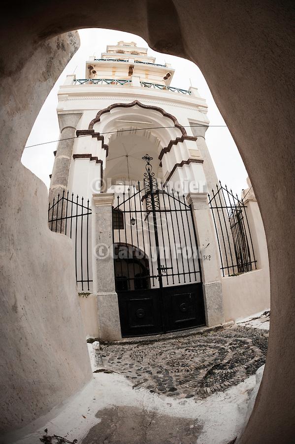 Castro church bell tower, Emporio, Santorini, Greece.