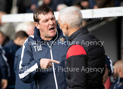 St Mirren v St Johnstone…19.10.19   St Mirren Park   SPFL<br />Tommy Wright and Jim Goodwin before kick off<br />Picture by Graeme Hart.<br />Copyright Perthshire Picture Agency<br />Tel: 01738 623350  Mobile: 07990 594431