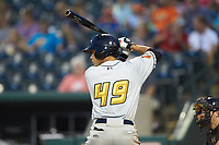 Fabricio Macias (49) of the West Virginia Power at bat against the Greensboro Grasshoppers at First National Bank Field on August 9, 2018 in Greensboro, North Carolina. The Power defeated the Grasshoppers 9-7 in game two of a double-header. (Brian Westerholt/Four Seam Images)