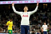 26th August 2021; Tottenham Hotspur Stadium, London, England; Europa Conference League football, Tottenham Hotspur versus Paços de Ferreira; Son Heung-Min of Tottenham Hotspur reacts as he misses a chance on goal