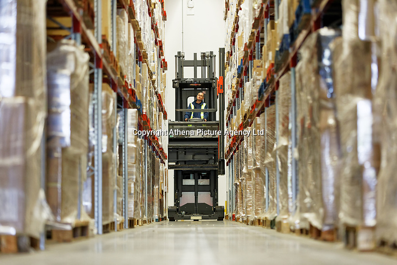 Pictured: A worker with a forklift inside the warehouse. Wednesday 02 October 2019<br /> Re: An NHS Wales Warehouse in south east Wales is storing extra medical devices and consumables to ensure health and social services continue to run smoothly in the event of a no-deal Brexit.