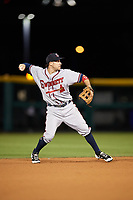 Gwinnett Braves shortstop Sean Kazmar (4) throws to first base for the out during a game against the Buffalo Bisons on August 19, 2017 at Coca-Cola Field in Buffalo, New York.  Gwinnett defeated Buffalo 1-0.  (Mike Janes/Four Seam Images)