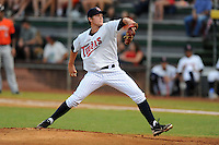 Elizabethton Twins starting pitcher Kohl Stewart #45 delivers a pitch during a game against the Greeneville Astros at Joe O'Brien Field on August 20, 2013 in Elizabethton, Tennessee. The Twins won the game 10-8. (Tony Farlow/Four Seam Images)